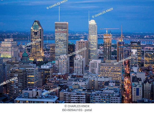 Aerial view of city, Le Plateau, Montreal, Quebec, Canada