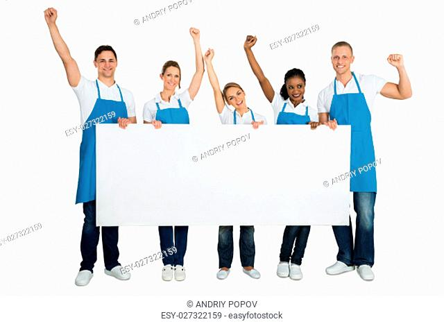 Group Of A Janitors Cheering While Holding Blank Banner On White Background
