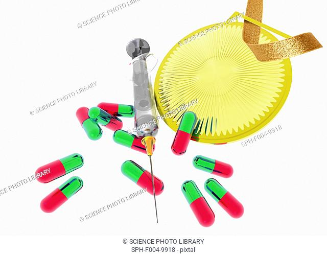 Drugs in sport. Conceptual computer artwork of drug abuse in sport. The use of performance-enhancing substances is banned in sport