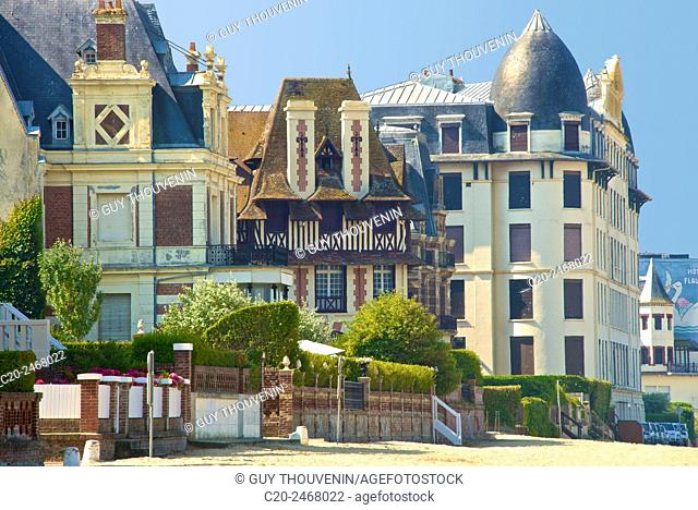 Typical beach villas and hotel, along the beach, Trouville sur Mer, 14, Normandy, France