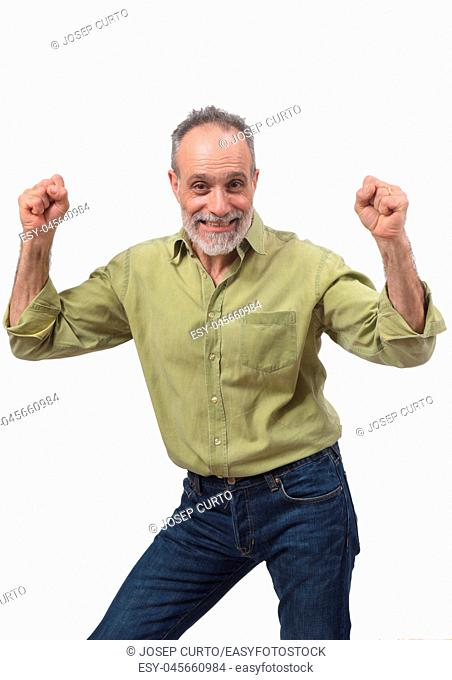 man raising her arms and smiling in victory sign on white background