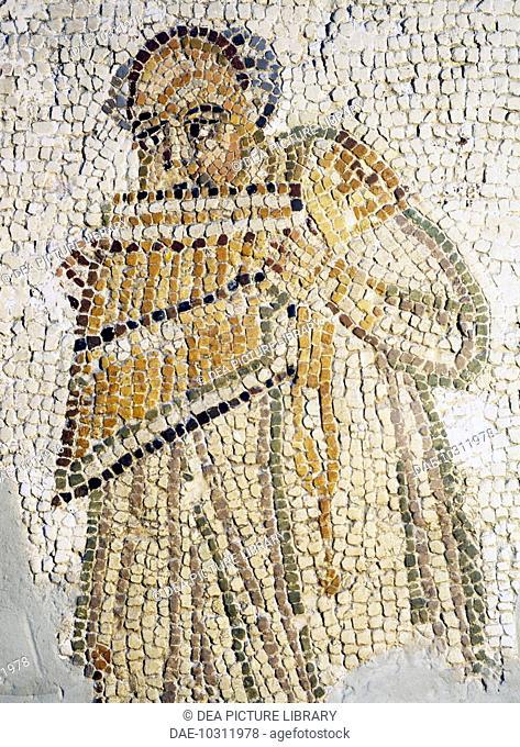 Pan flute player, mosaic. Roman civilisation, 2nd century.  Rome, Museo Della Civiltà Romana (Museum Of Roman Civilisation)