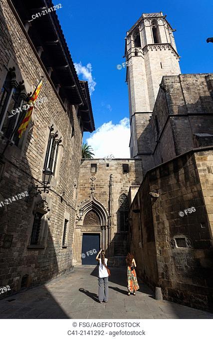 Street of Del Bisbe. Gòtic quarter .Barcelona. spain