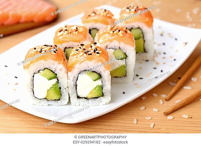 Tuna Sushi With Sesame Seeds Stock Photos And Images Age