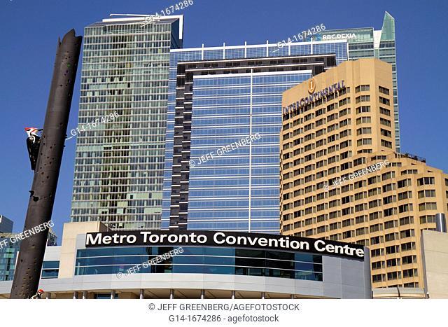 Canada, Ontario, Toronto, Bremner Boulevard, Convention Center, public art, skyline, venue, exhibit hall, exterior, Woodpecker Column, Fastwürms