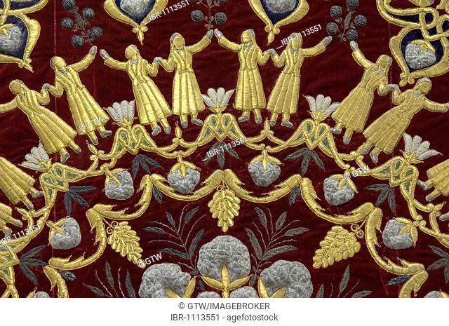 Tashkent, Museum of Applied Arts, velvet tapestry embroidered in gold and silver, Uzbekistan