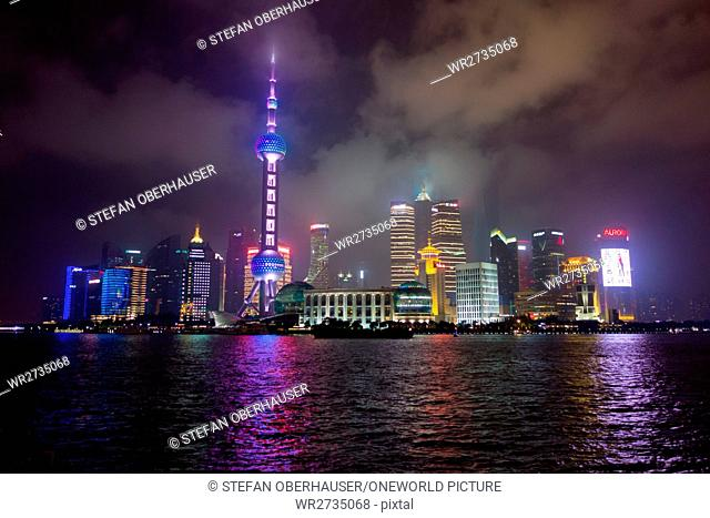 China, Shanghai, Shanghai skyline with the famous Pearl Tower