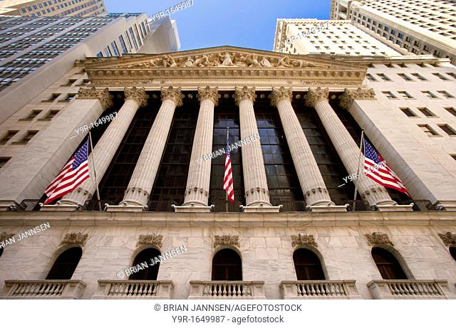 New York Stock Exchange Building in Lower Manhattan, New York City USA