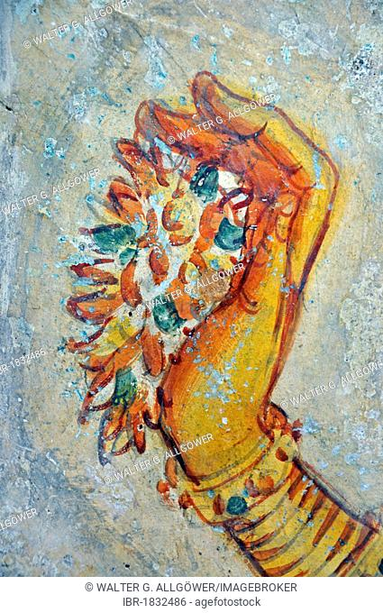 Cloud maiden, fresco on cave wall, 5th Century, Lion Rock, rock fortress, UNESCO World Heritage site, Sigiriya, Sri Lanka, Asia