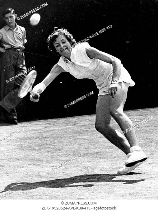Jun 24, 1952 - London, England, UK - (File Photo) British tennis player LORNA CORNELL plays with a bandaged elbow in singles competition at Wimbledon