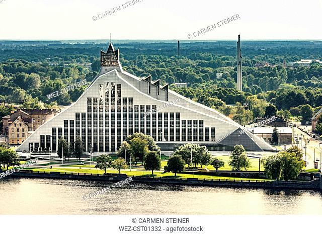 Latvia, Riga, national library at Daugava River