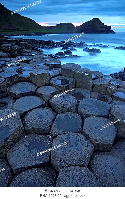 Dusk over the Giant's Causeway, UNESCO World Hritage Site, County Antrim, Northern Ireland, United Kingdom, Europe