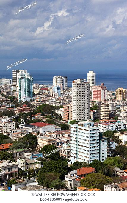 Cuba, Havana, Vedado, elevated view of the Vedado area