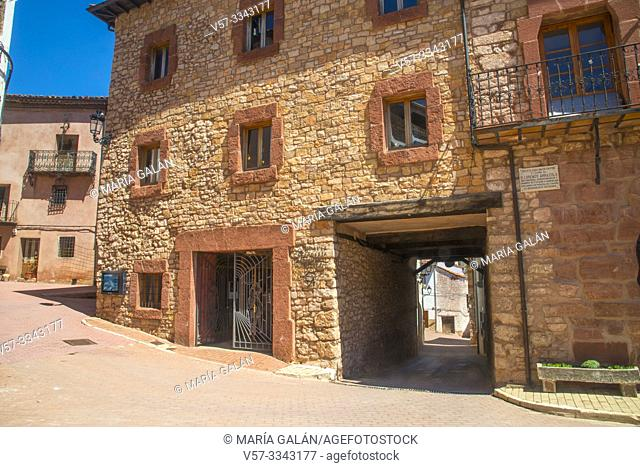 Facade of house and passage. Checa, Guadalajara province, Castilla La Mancha, Spain