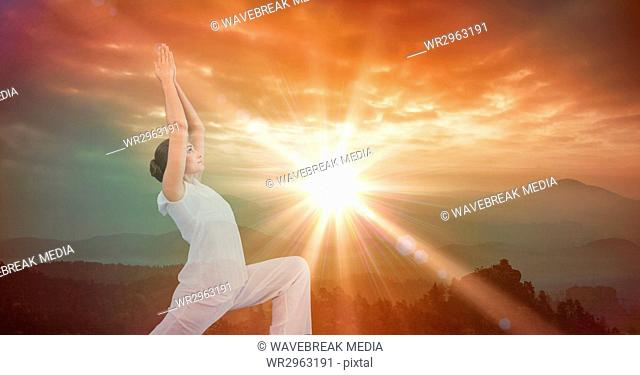 Double exposure of woman with arms raised against sky during sunset