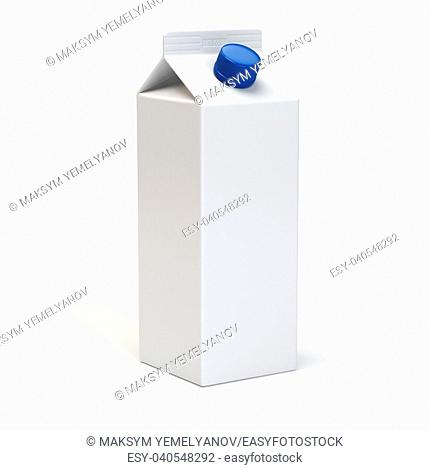 Milk or juiice blank white carton pack Isolated on white. 3d illustration