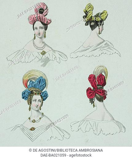 Models of hats in pink and yellow tissue enriched by a penalty of pearls, top, and blue and red adorned with yellow feathers tufts