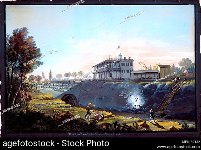View of the Tunnel of the Harlem Railroad. Artist: Nicolino Calyo (American (born Italy), Naples 1799-1884 New York); Date: ca