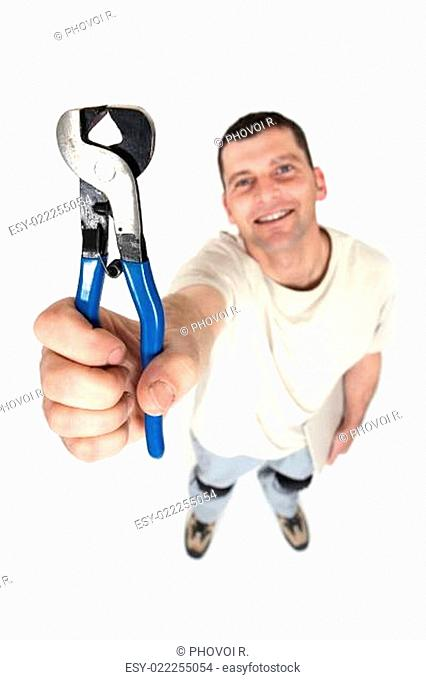 Man holding end-cutting pliers