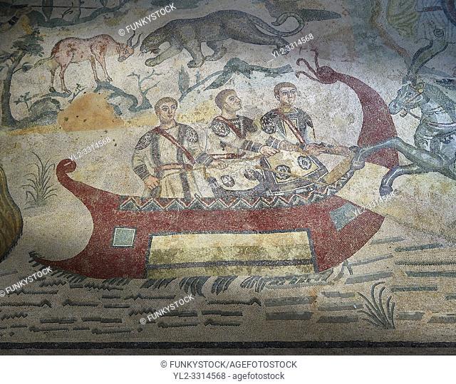 Fishermen Roman mosaic, room 24, at the Villa Romana del Casale, Sicily , circa the first quarter of the 4th century AD. Sicily, Italy