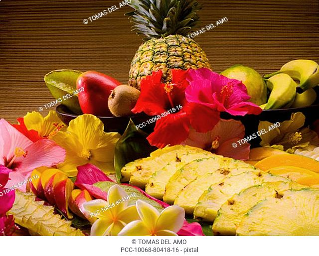 Studio shot of a variety of tropical fruit, whole and cut into slices
