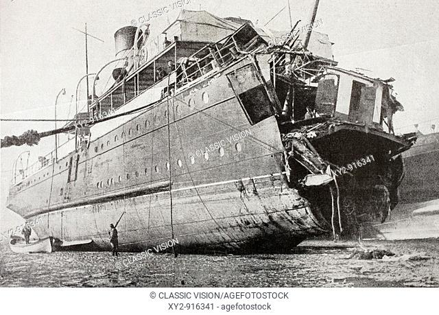 The French passenger ferry Sussex after she was torpedoed in March, 1916  Spanish composer Enrique Granados and his wife were amongst the dead  From...