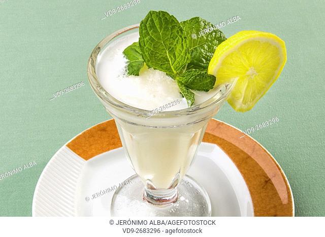 Lemon sorbet desert