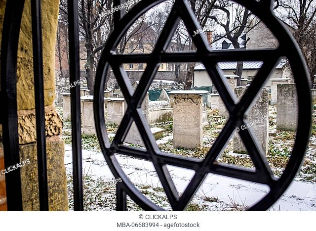 Krakow, Poland, North East Europe. Star of David symbol on the fence of the old Jewish cemetery