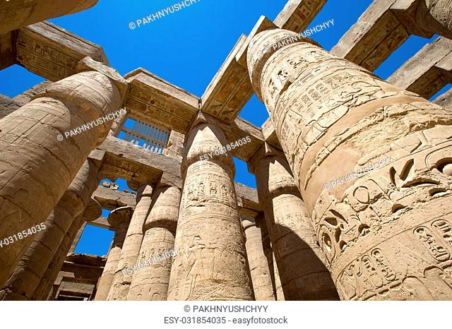 Close up of columns covered in hieroglyphics, Karnak, Egypt