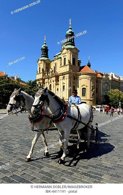 Nicolas Church, Old Town Square, horse carriage, Prague, Czech Republic