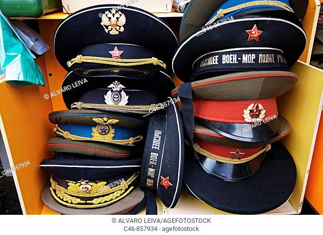 Military Hats. St. Petersburg. Russia