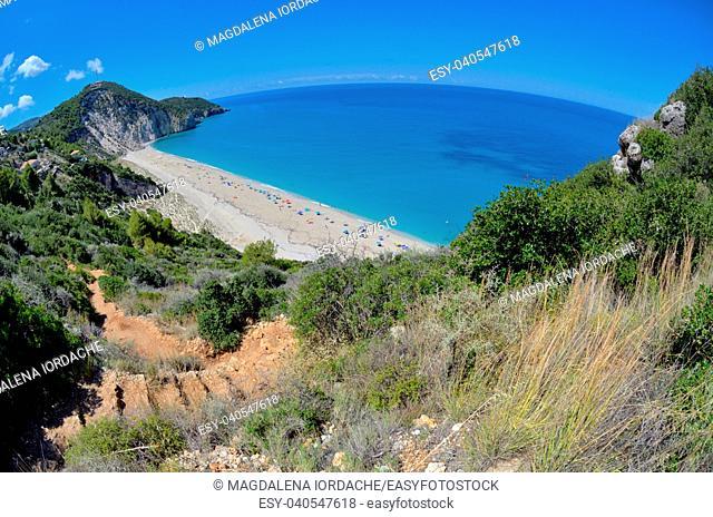 View of Milos beach on Lefkada island, Greece
