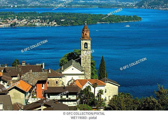 Ronco sopra Ascona with the church San Martino at the lake Lago Maggiore, Ticino, Switzerland