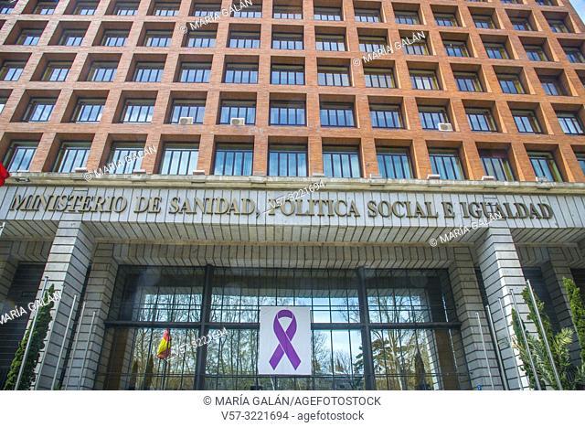 Facade of Sanidad, Politica Social e Igualdad Ministry, by Rafael Moneo. Paseo del Prado, Madrid, Spain