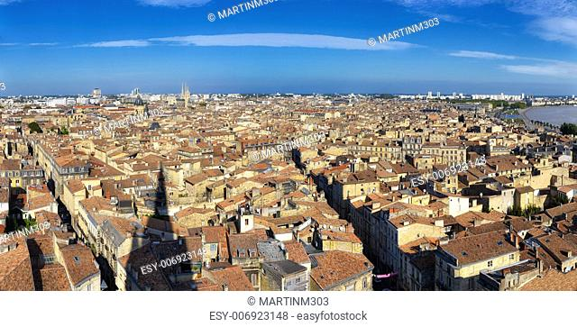 Bordeaux city panorama from St Michel tower, view during the day