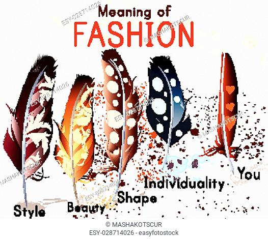 Fashion conceptual background with colorful feathers. What mean fashion. Style, individuality, shape, beauty