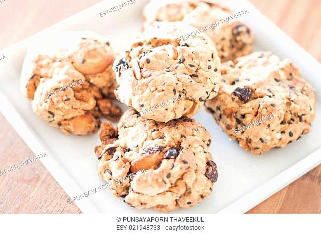 Healthy cookies on white plate