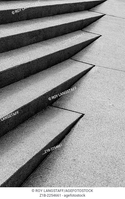 Abstract image of intersecting stairs and ramp, Robson Square, Vancouver, Canada