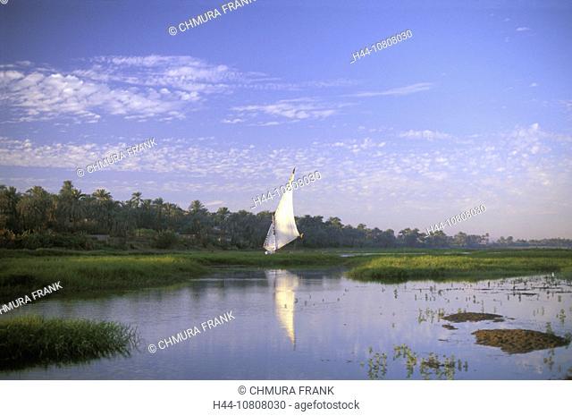 Egypt, North Africa, Felukka, Felukke, Luxor, River, Sail boat, Nile