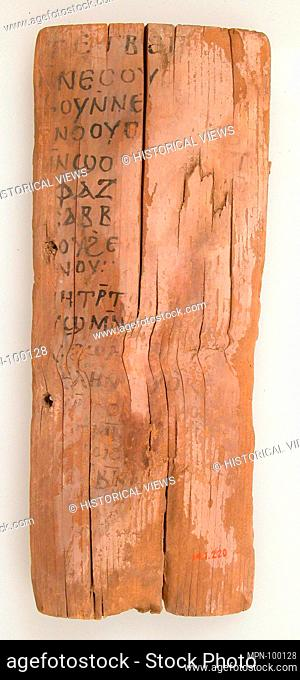 Ostrakon. Date: 580-640; Geography: Made in Thebes, Byzantine Egypt; Culture: Coptic; Medium: Wood with ink inscription; Dimensions: Overall: 9 5/8 x 3 15/16 x...
