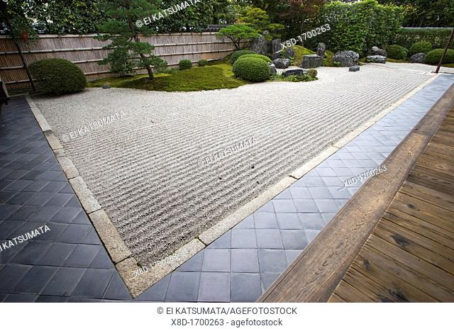 The zen rock garden at Korin-in, which is a subtemple of Daitokuji Temple, Kyoto, Kansai Region, Japan