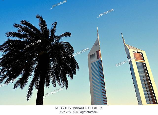 The Emirates Towers complex, Dubai, United Arab Emirates. Left is Emirates Office Tower. Right is Jumeirah Emirates Towers Hotel