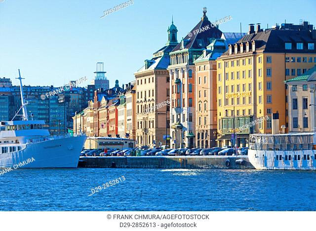 Sweden, Stockholm, Boats Moored alongside The Old Town