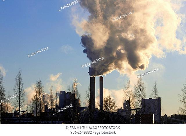 Paper and pulp factory smokes, Lappeenranta Finland