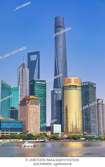 China, Shanghai City, Pudong District, Lujiazui Area, Jin Mao Bldg. ,World Financial Center and Shanghai Tower