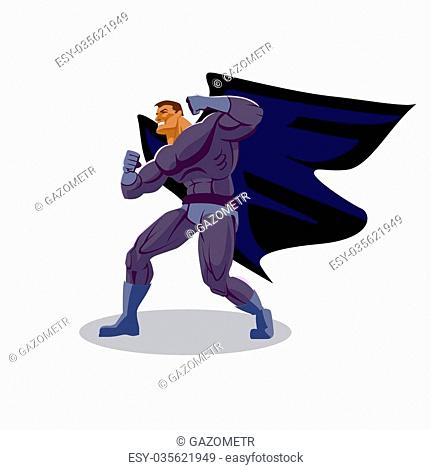 Superhero look around. Stand in readiness. Isolated background
