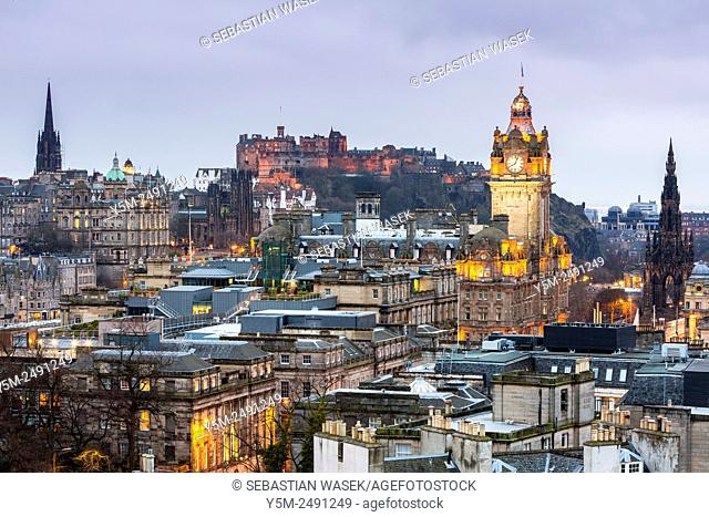 A view from Calton Hill over Edinburgh, City of Edinburgh, Scotland, United Kingdom, Europe