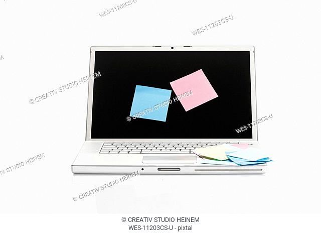 Adhesive labels on notebook screen