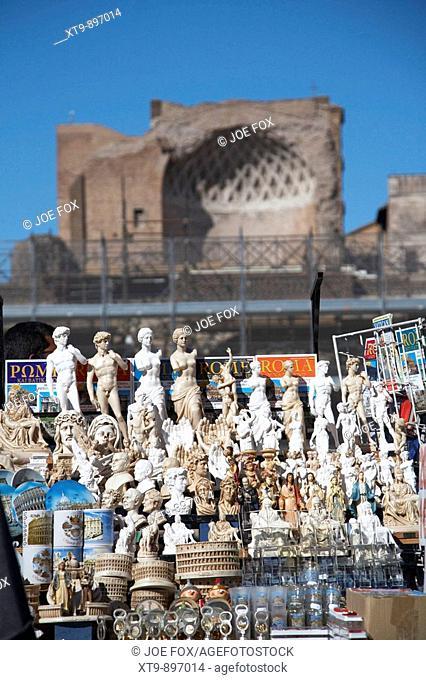 Street vendors souvenir stall outside the forum Rome Lazio Italy