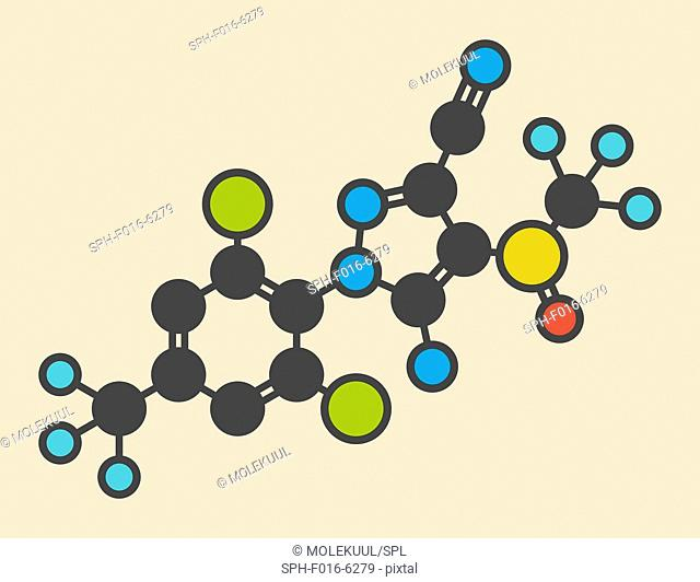 Fipronil insecticide molecule. Stylized skeletal formula (chemical structure). Atoms are shown as color-coded circles: hydrogen (hidden), carbon (grey)